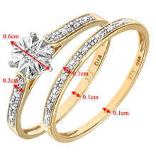 Load image into Gallery viewer, 9ct Yellow Gold 0.05ct Diamond Bridal Set Ring
