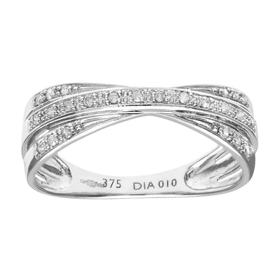 9ct White Gold 10Pt Diamonds Crossover Ring