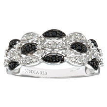 Load image into Gallery viewer, 9ct White Gold Black Diamond Marquise 3 Row Eternity Ring