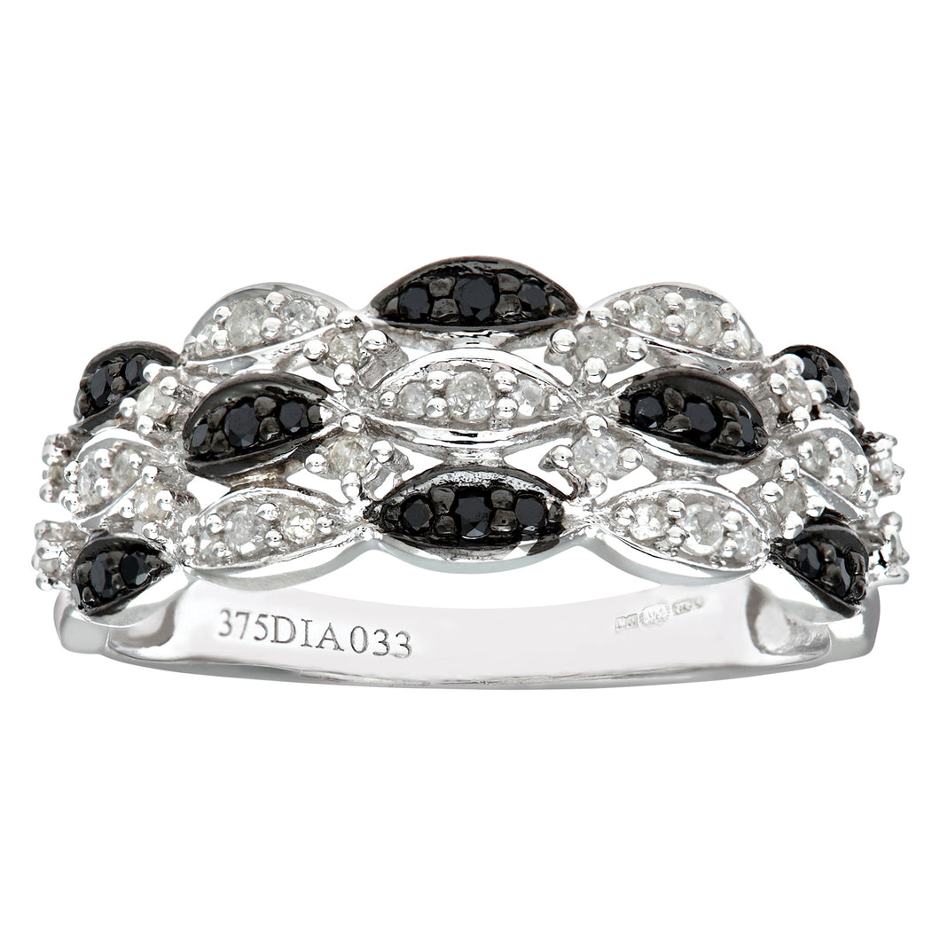 9ct White Gold Black Diamond Marquise 3 Row Eternity Ring