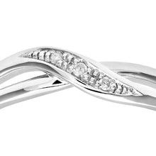 Load image into Gallery viewer, Ladies 9ct White Gold Diamond Crossover Ring