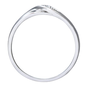 Ladies 9ct White Gold Diamond Crossover Ring