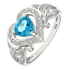 Load image into Gallery viewer, Ladies 9ct White Gold Diamond and Heart Blue Topaz Ring