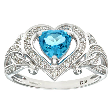 Ladies 9ct White Gold Diamond and Heart Blue Topaz Ring