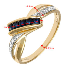 Load image into Gallery viewer, Ladies 9ct Yellow Gold Fancy Diamond and Sapphire Ring