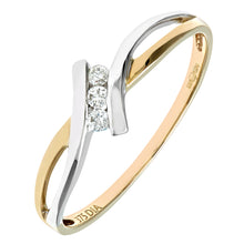 Load image into Gallery viewer, Ladies 9ct Yellow and White Gold Diamond Crossover Ring