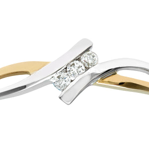 Ladies 9ct Yellow and White Gold Diamond Crossover Ring