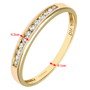 Ladies 9ct Yellow Gold 10pts Diamond Eternity Ring