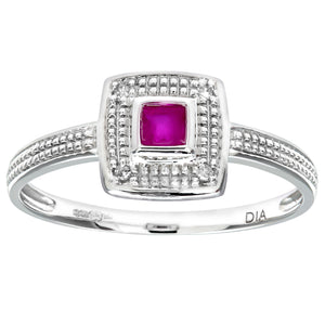 Ladies 9ct White Gold Diamond and Ruby Cluster Ring