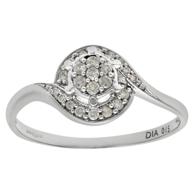 Ladies 9ct White Gold 15pts Diamond Fancy Cluster Ring