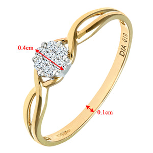 Ladies 9ct Yellow Gold 10pts Diamond Fancy Cluster Ring