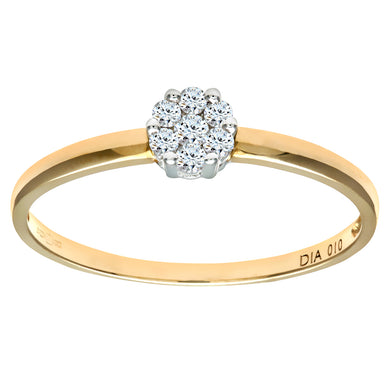 Ladies 9ct Yellow Gold 10pts Diamond Cluster Ring