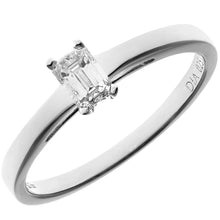 Load image into Gallery viewer, 18ct White Gold 0.25ct Emerald Cut Certified Diamond Solitare Ring
