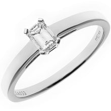 Load image into Gallery viewer, 18ct White Gold 0.33ct Emerald Cut Certified Diamond Solitare Ring