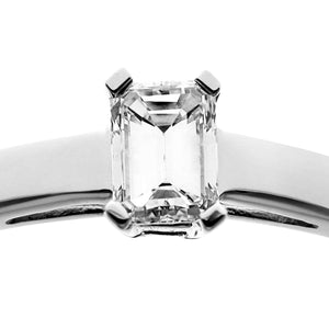 18ct White Gold 0.33ct Emerald Cut Certified Diamond Solitare Ring
