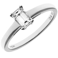 Load image into Gallery viewer, 18ct White Gold 0.50ct Emerald Cut Certified Diamond Solitare Ring