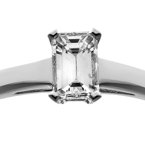 18ct White Gold 0.50ct Emerald Cut Certified Diamond Solitare Ring