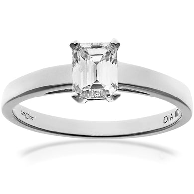 18ct White Gold 0.75ct Emerald Cut Certified Diamond Solitare Ring