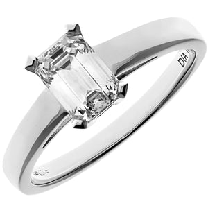 18ct White Gold 1.00ct Emerald Cut Certified Diamond Solitare Ring