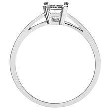 Load image into Gallery viewer, 18ct White Gold 1.00ct Emerald Cut Certified Diamond Solitare Ring