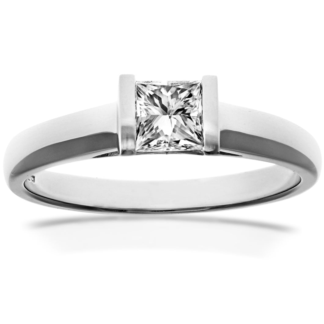 18ct White Gold 0.50ct Princess Cut Certified Diamond Solitare Ring