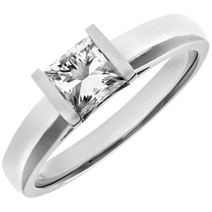 18ct White Gold 0.75ct Princess Cut Certified Diamond Solitare Ring