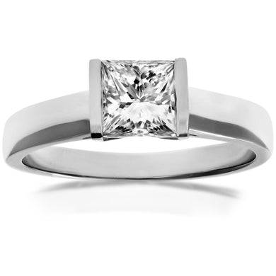 18ct White Gold 1.00ct Princess Cut Certified Diamond Solitare Ring