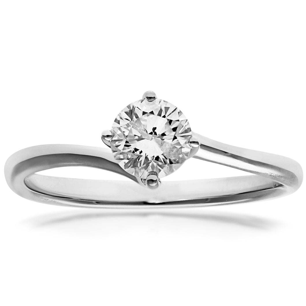 18ct White Gold 0.50ct Round Brilliant Cut Certified Diamond Solitare Ring