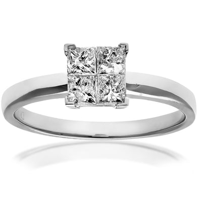 18ct White Gold 0.50ct Princess Cut Diamonds Solitare Look Ring