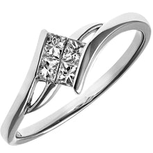 Load image into Gallery viewer, 18ct White Gold 0.25ct Princess Cut Diamonds Solitare Look Crosover Ring