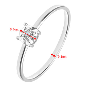 Ladies 9ct White Gold Illusion set Diamond Solitare Ring