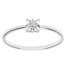 Load image into Gallery viewer, Ladies 9ct White Gold Illusion set Diamond Solitare Ring