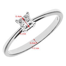 Load image into Gallery viewer, 18ct White Gold 1/4 Carat Certified J/I Princess Cut Diamond Engagement Ring