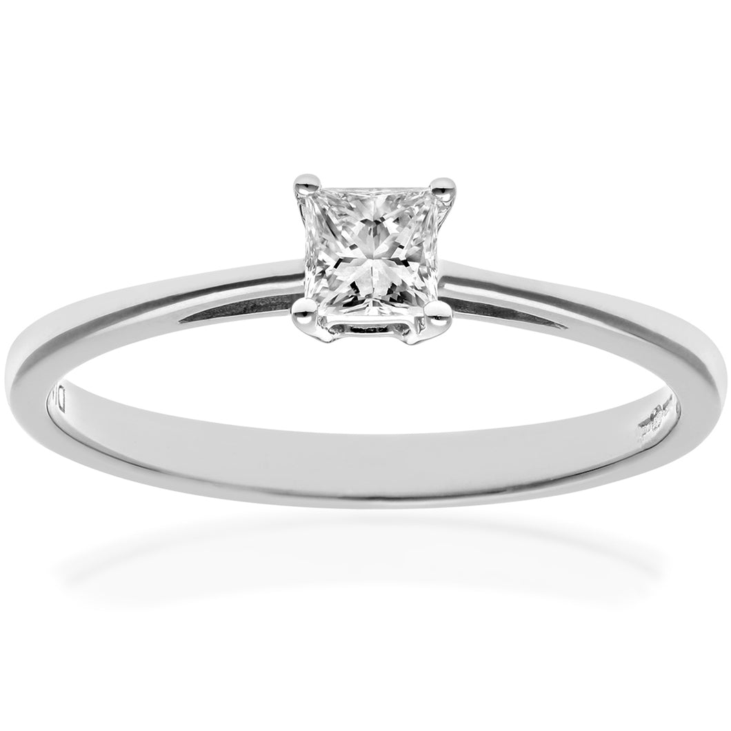 18ct White Gold 1/4 Carat Certified J/I Princess Cut Diamond Engagement Ring