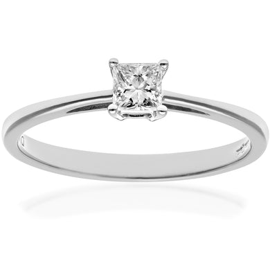 18ct White Gold 1/4 Carat Certified J/SI Princess Cut Diamond Engagement Ring