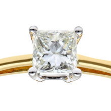 Load image into Gallery viewer, 18ct Yellow Gold 1/4 Carat Certified J/I Princess Cut Diamond Engagement Ring
