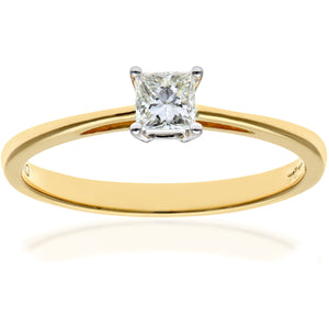 18ct Yellow Gold 1/4 Carat Certified J/I Princess Cut Diamond Engagement Ring