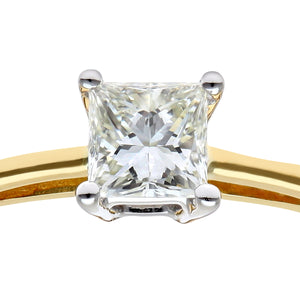 18ct Yellow Gold 1/4 Carat Certified J/SI Princess Cut Diamond Engagement Ring