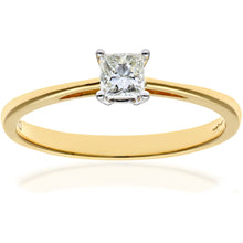 Load image into Gallery viewer, 18ct Yellow Gold 1/4 Carat Certified J/SI Princess Cut Diamond Engagement Ring