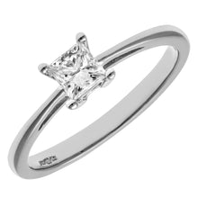 Load image into Gallery viewer, 18ct White Gold 1/3 Carat Certified J/I Princess Cut Diamond Engagement Ring