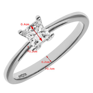18ct White Gold 1/3 Carat Certified J/I Princess Cut Diamond Engagement Ring
