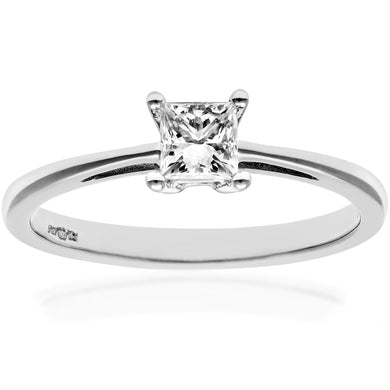 18ct White Gold 1/3 Carat Certified J/SI Princess Cut Diamond Engagement Ring