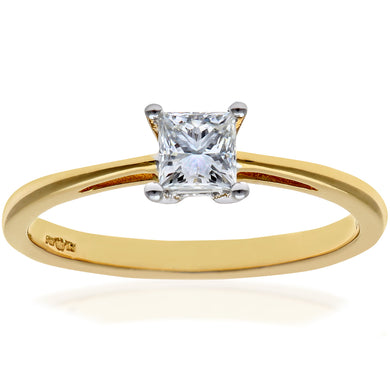 18ct Yellow Gold 1/3 Carat Certified J/I Princess Cut Diamond Engagement Ring