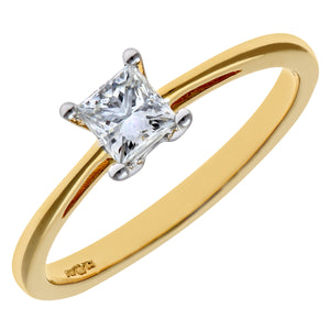 18ct Yellow Gold 1/3 Carat Certified J/SI Princess Cut Diamond Engagement Ring