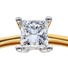 Load image into Gallery viewer, 18ct Yellow Gold 1/3 Carat Certified J/SI Princess Cut Diamond Engagement Ring