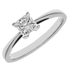 Load image into Gallery viewer, 18ct White Gold 1/2 Carat Certified J/I Princess Cut Diamond Engagement Ring