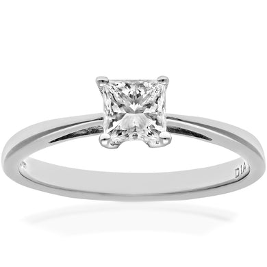 18ct White Gold 1/2 Carat Certified J/I Princess Cut Diamond Engagement Ring