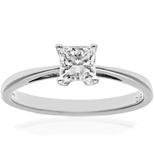 Load image into Gallery viewer, 18ct White Gold 1/2 Carat Certified J/SI Princess Cut Diamond Engagement Ring