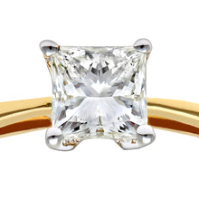 Load image into Gallery viewer, 18ct Yellow Gold 1/2 Carat Certified J/I Princess Cut Diamond Engagement Ring