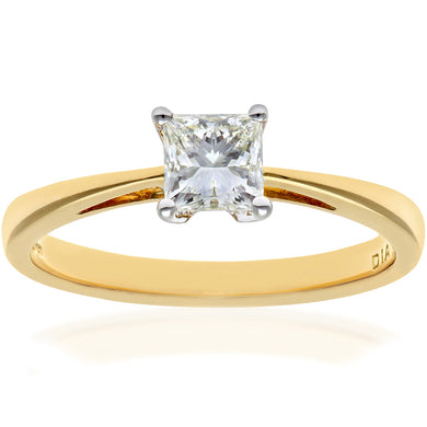 18ct Yellow Gold 1/2 Carat Certified J/I Princess Cut Diamond Engagement Ring